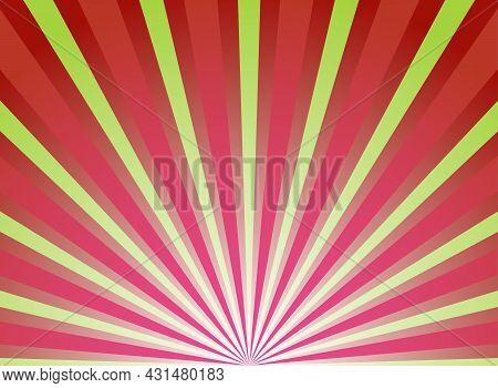 Sunlight Background. Retro Red And Green Color Burst Background. Fantasy Vector Illustration. Magic