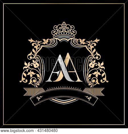 Aa Royal Emblem With Crown, Gold Colors Black Labels, Initial Letter And Graphic Name Frames Border