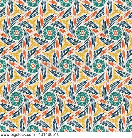 Vector Scribbles Colored Pencils Hand Drawn Doodle Seamless Pattern