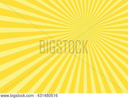 Sunlight Abstract Background. Powder Yellow Color Burst Background. Vector Illustration. Sun Beam Ra