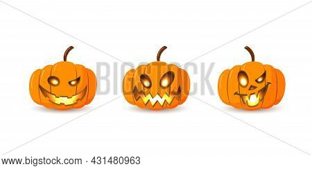 Halloween Pumpkin Icon Set. Autumn Symbol. 3d Design. Halloween Scary Pumpkin Face Smile, Candle Lig