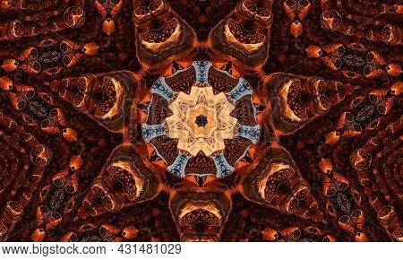 Ginger Groovy Kaleidoscope Abstract Seamless Pattern With Round Kaleidoscopic Glowing Elements.