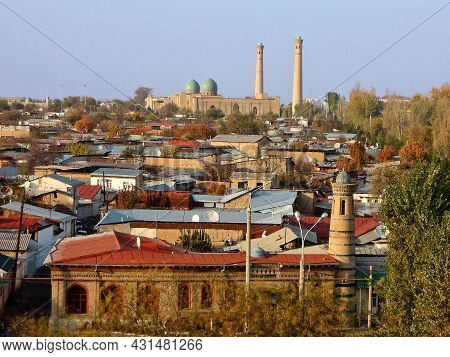Panoramic View From Ferris Wheel On North Part Of Tashkent, Including Sacred For Muslims Ensemble Of