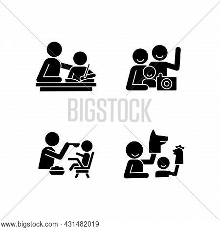 Effective Parenting Style Black Glyph Icons Set On White Space. Helping With Homework. Family Portra