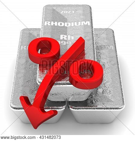 Decrease In The Value Of Rhodium. There Are Three Ingots Of 999.9 Fine Rhodium And One Red Percentag