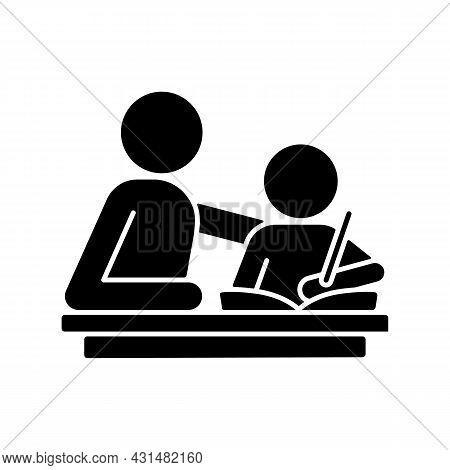 Helping With Homework Black Glyph Icon. Praising, Encouraging Child To Study. Parental Involvement.