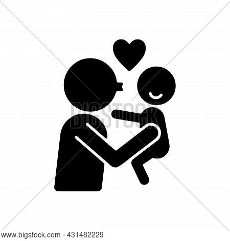 Kissing Child On Cheek Black Glyph Icon. Showing Affection. Express Parental Love To Baby. Family Re