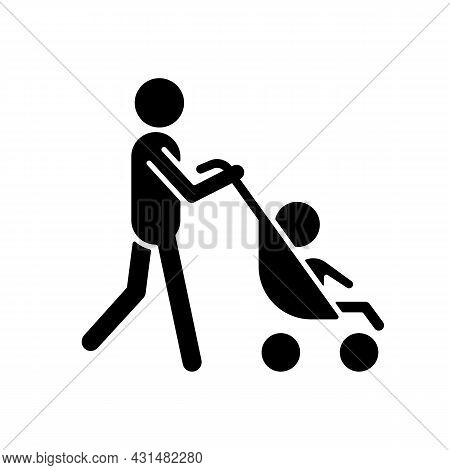 Walking With Stroller Black Glyph Icon. Take Child For Walk Outside. Walking With Baby Carriage. Ear