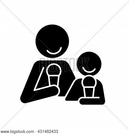 Eating Ice Cream Together Black Glyph Icon. Increase Family Bonding Over Food. Bringing Parent And C