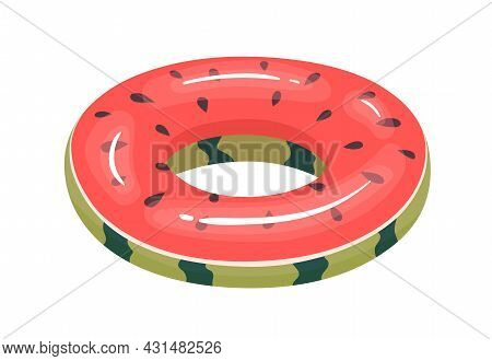 Inflatable Rubber Ring Of Fruit Shape. Childish Summer Glossy Toy For Swimming And Fun In Water. Wat