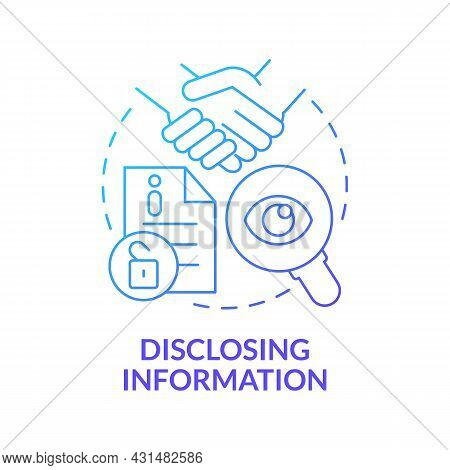 Disclosing Information Blue Gradient Concept Icon. Social Performance Abstract Idea Thin Line Illust