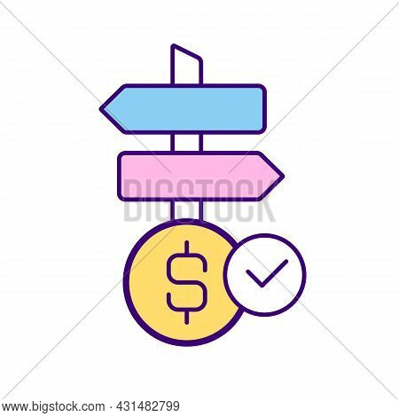Options For Money Investment Rgb Color Icon. Freedom To Choose Field For Crs Work. Right To Make Cho