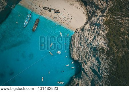 Aerial Drone Shot Of The Famous Shipwreck Bay In Zakynthos, Greece