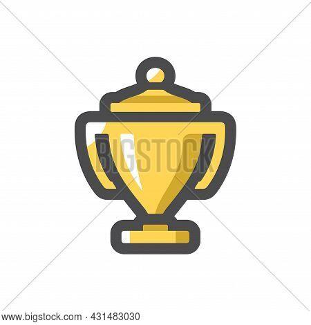 Golden Trophy. Cup. Vector Icon Cartoon Illustration