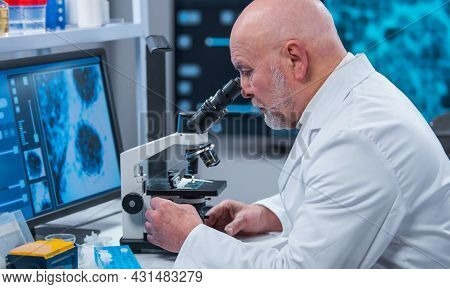 Professor Works In A Modern Scientific Laboratory Using Equipment And Computer Technologies. The Sci