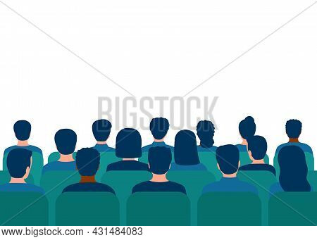 Conference With Audience In Hall. People Spectators. People Audience Back View. Students On Lecture,