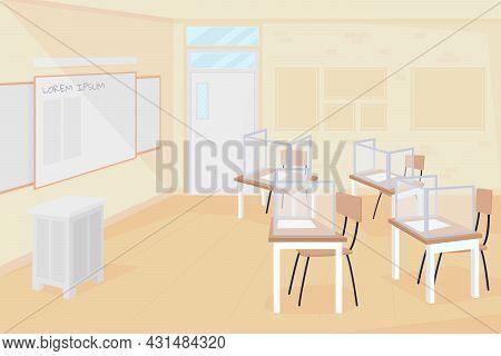 Empty Class At School Flat Color Vector Illustration. Coronavirus Precaution Measure. School Quarant