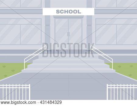 Empty School Entrance Flat Color Vector Illustration. School Building Facade 2d Cartoon Exterior Wit