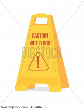 Caution Wet Floor Sign Semi Flat Color Vector Object. Falling Prevention. Beware Of Slippery Floor.