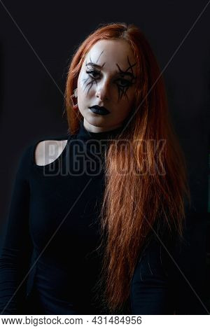 Halloween Witch Woman With Long Hair And Make-up.