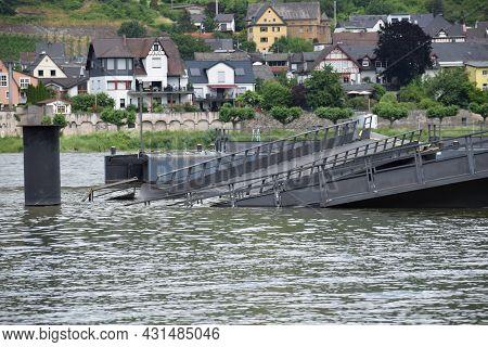 Namedy, Germany - June 28th 2021: Collapsed Bridge In The Rhine