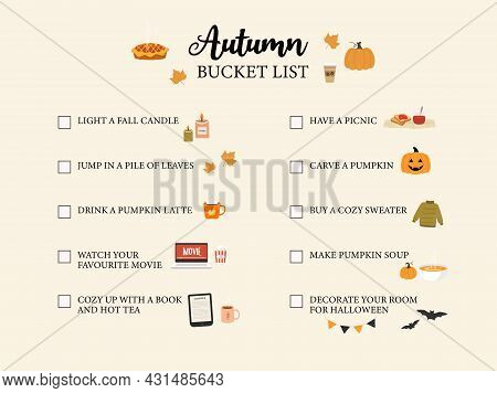 Autumn Bucker List. Fall To Do List. Cute Hand Drawn Illustrations Doodles. Vector