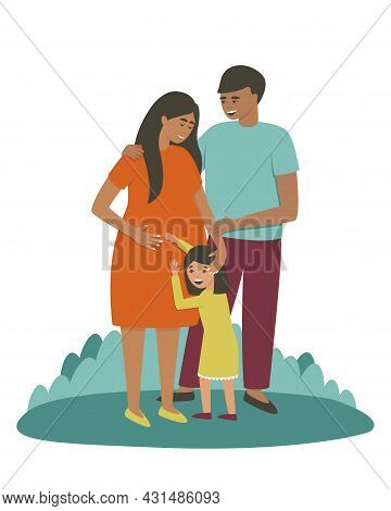 Mom, Dad And Daughter Are Waiting For A New Addition To The Family. Daughter Hugs The Belly Of A Pre
