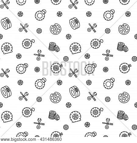 Seamless Vector Pattern With Tire, Tyre And Wheel. Tyre Maintenance. Automobile Wheel Service. For F