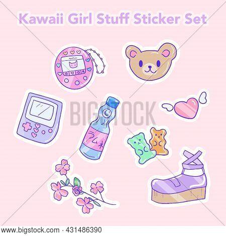 Kawaii Girl Stuff Isolated Sticker Set. 90s Aesthetic Japanese Girl Cute Icons. Vector Illustration