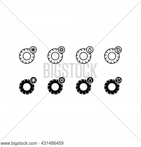 Tire, Tyre And Wheel Flat Line Icons. Winter Tires With Snowflake And Summer Symbols. Seasonal Tyre