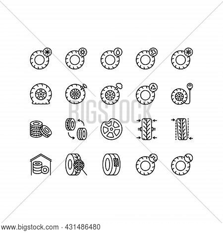 Tire, Tyre And Wheel Flat Line Icons Set. Car Wheel Summer And Winter Icon. Tyre Maintenance. Automo