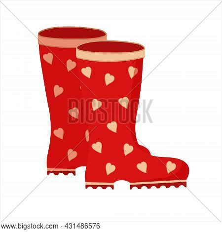 Pair Of Red Rain Boots With Hearts. Cute Gumboots. Wellingtons. Isolated Flat Vector Illustration On