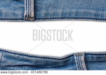 Old Blue Jeans Fabric Denim Texture Isolated On White Background For Design. Canvas Denim. Close Up