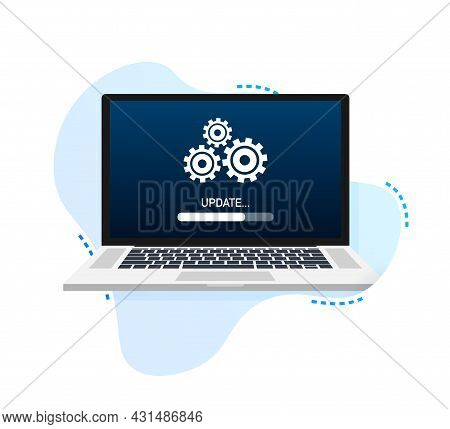 System Software Update, Data Update Or Synchronize With Progress Bar On The Screen. Vector Illustrat