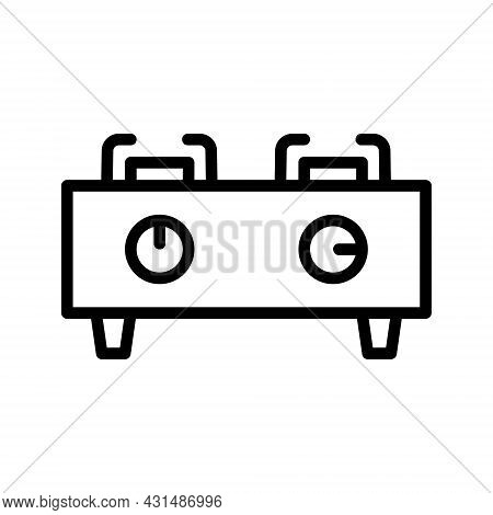 Stove Flat Line Icon. Symbol Of Oven, Cooker, Stove. Outline Sign For Mobile Concept And Web Design,