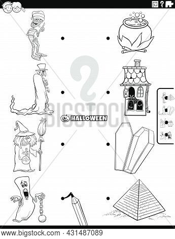 Black And White Cartoon Illustration Of Educational Matching Game For Kids With Spooky Halloween Cha