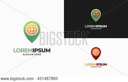 World Pin Place Navigation Logo Designs Concept Vector, Internet Point Logo Designs Concept Illustra