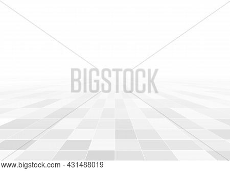 Tile And Perspective Grid. White Ceramic Tile Background. Squares And Rhombuses Monochrome Pattern.