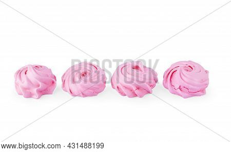 Puffy Marshmallows On A White Background Macro, Food, Roast, Ingredient, Delicious, Sweet, Dessert,