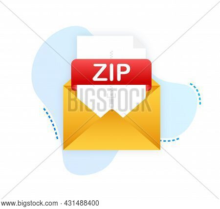 Download Zip Button. Downloading Document Concept. File With Zip Label And Down Arrow Sign. Vector I