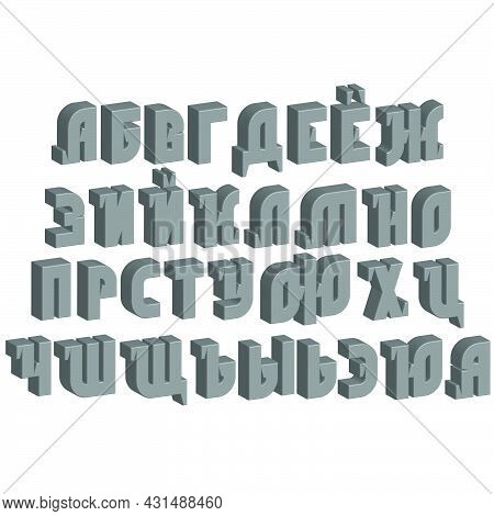Cyrillic Bold Font Russian Alphabet, 3d Isometric Grey Letters Isolated On The White, Abc Typographi
