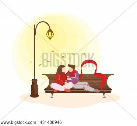 Young Happy Couple In Love Spend Autumn Fall Time Together. Man And Woman During Romantic Date. Belo
