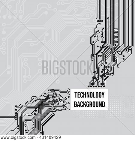 Technological Circuit Background, Concept Design, Space For Text. Printed Circuit Board. Electronic