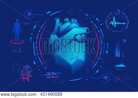 Concept Of Cardiology Or Medical Technology, Graphic Of Low Poly Heart With Futuristic Interface