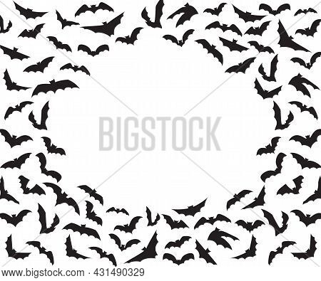 Silhouettes Of Bats Isolated On White Background. Pinioned Black Flittermouse Swarm. Haotic Flying F