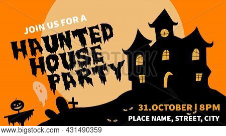Halloween, Haunted House Party Web Banner Social Media Post Template Design