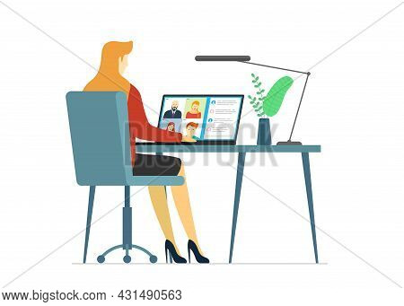 Woman And Group People On Laptop Screen Taking Part Web Conference. Virtual Work Meeting And Distanc