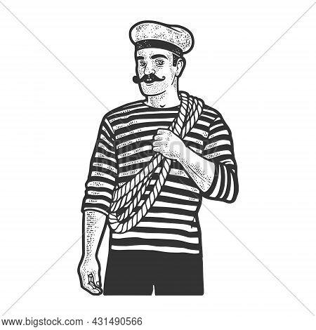 Sailor Man Sketch Engraving Vector Illustration. T-shirt Apparel Print Design. Scratch Board Imitati