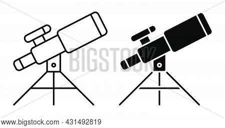 Linear Icon. Telescope For Observing Space, Stars And Planets Of Solar System. Space Exploration. Si