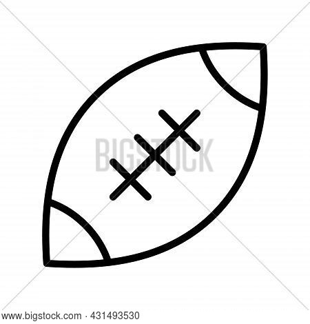 Rugby Ball Flat Line Icon. American Football Ball. Outline Sign For Mobile Concept And Web Design, S